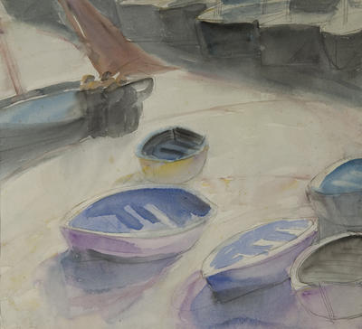 Boats and Three Figures , St. Ives