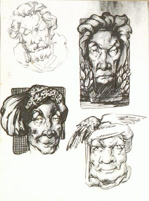 Untitled (Imaginary heads of medieval / mythological subjects)