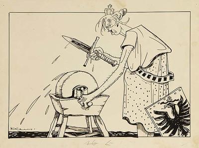 K. Grus; Untitled (royal woman sharpening her sword); 1918/2/91