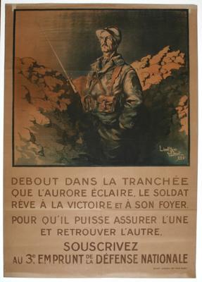 Debout dans la tranchee que l'aurore eclaire le soldat reve a la victoire et a son foyer