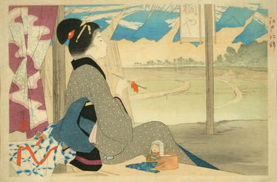 Courtesan (yujo) smoking on verandah