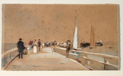 Untitled (wharf scene with people and boats)