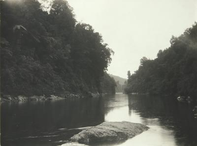 Untitled (river scene with single boulder, lower center)