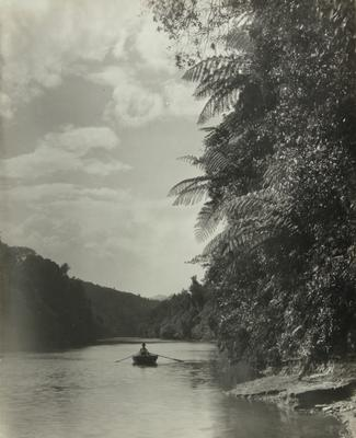 Untitled (river scene, one man rowing a canoe - verticle format)