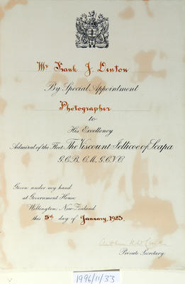 Certificate awarded to Frank J. Denton, 5th January, 1923
