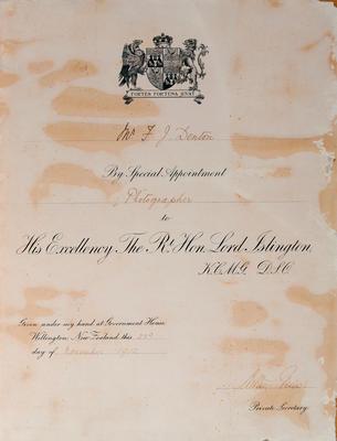 Certificate awarded to Frank J. Denton on the 23 November 1912