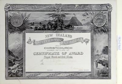Certificate Awarded to F.J. Denton for the New Zealand International Exhibition, Christchurch, November 1906 - April 1907 (special award and gold medal)