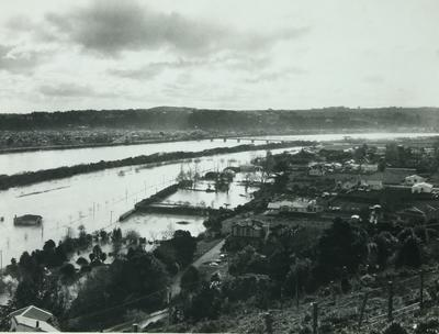 Untitled (flood scene looking down on the town)