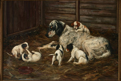 Violet Whiteman; English Setter and Pups; Pre 1949; 1998/20/4
