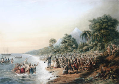 Landing of the Missionaries at Taranaki, New Zealand