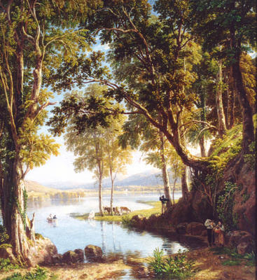 A Wood Scene on the Margin of Keswick Lake (Derwentwater)