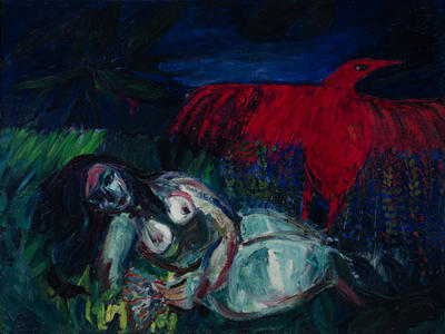 Woman, Red Bird, Night