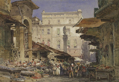 William Callow; Il Mercato Vecchio, Florence (on frame, verso); 1878; 1927/4/1
