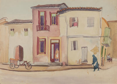 Untitled (street scene with figures)