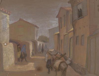 Untitled (village street scene)