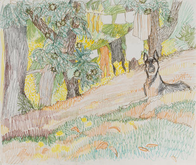 Untitled (Landscape with dog)