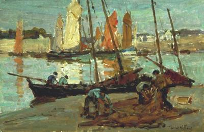 Terrick Williams; Boats and Fishermen, Concarneau; Circa 1920; 1930/1/3