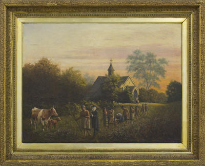 Untitled (Procession with Rev Richard Taylor, Hoani Wiremu Hipango and his family walking by the third Putiki Mission Station church)