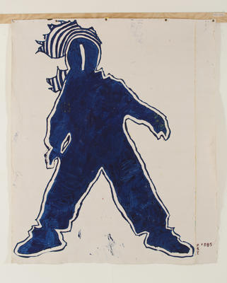 Philip Trusttum; Woman From My View [blue outline, with solid blue infill]; 1985; 1986/11/2.1