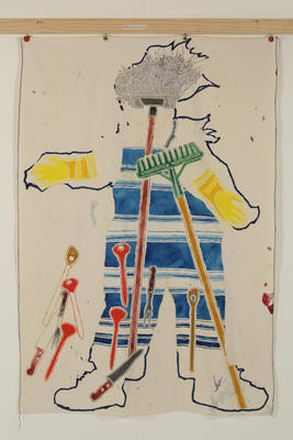 Philip Trusttum; Woman From My View [with mop and rake]; 1985; 1986/11/2.5