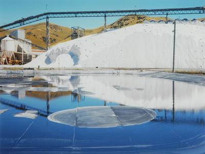 Saltstack across covered wash-pond