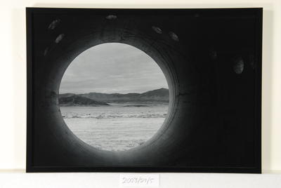 From within Nancy Holt's 'Sun Tunnels' (bullet tracks) #1, Utah
