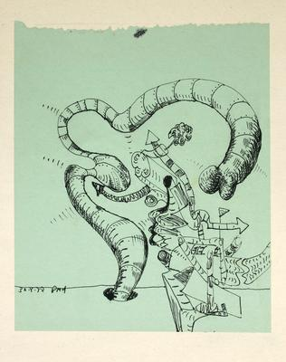 "Robert McLeod; Working drawing for ""Wet Dream above the Windy City""; 1972; 1981/2/2.5"