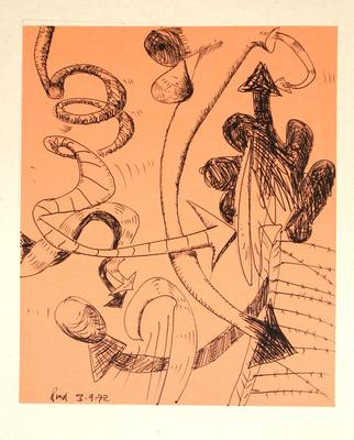 "Robert McLeod; Working drawing for ""Wet Dream above the Windy City""; 1972; 1981/2/2.21"