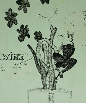 "Robert McLeod; Working drawing for ""Wet Dream above the Windy City""; 1972; 1981/2/2.25"