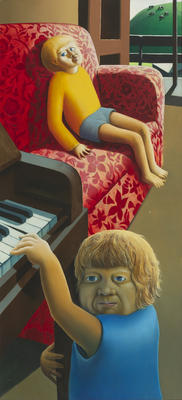 Michael Smither; Thomas and Joseph with Red Chair and Piano; 1972; 1973/2/1