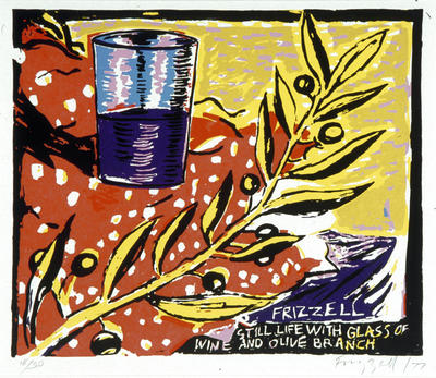 Dick Frizzell; Still Life with Glass of Wine and Olive Branch; 1977; 1978/10/4