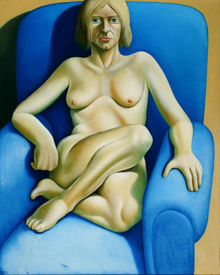 Nude in Blue Armchair