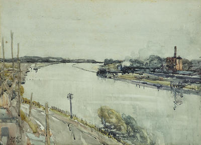 Dorothy Richmond; View across the Whanganui River to the Gas Works; 1920; 1994/3/1