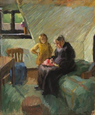 Woman and Child in Attic Studio