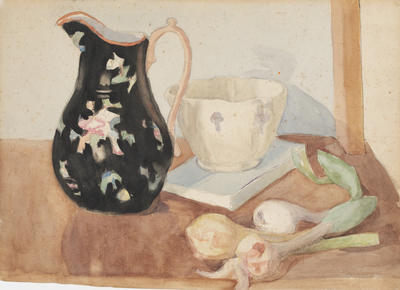 Untitled (still life with jug, cup and onions)