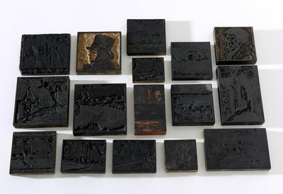 Box of printing woodblocks
