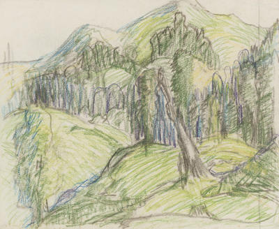 Untitled (Landscape with Trees and Mountains)