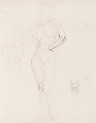 Untitled (Standing Female Nude and Torso and Knee Study)