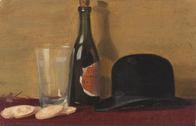 Still Life Hat and Bottle