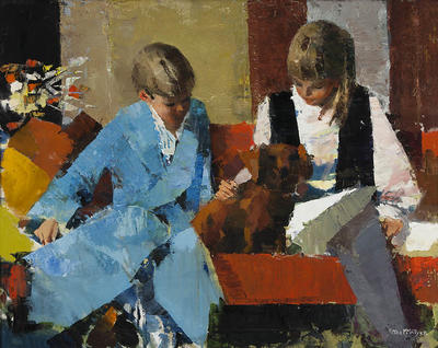 Peter McIntyre; Children with Dog; Circa 1965; 1965/4/1