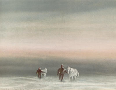 Exercising the Ponies, Cape Evans, Looking North, August 8, 1911. 3pm.