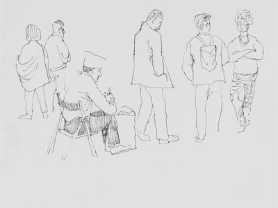 Untitled (6 figure studies, 5 standing 1 seated)