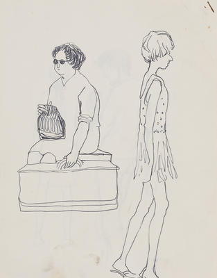 Joan Grehan; Untitled (Two female figures, study); 2014/1/13