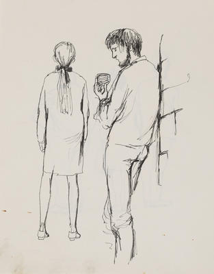 Joan Grehan; Untitled (Male and female figures, study); 2014/1/14