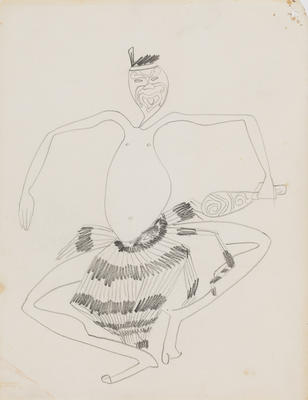 Joan Grehan; Untitled (Stylised Māori figure study); 2014/1/20