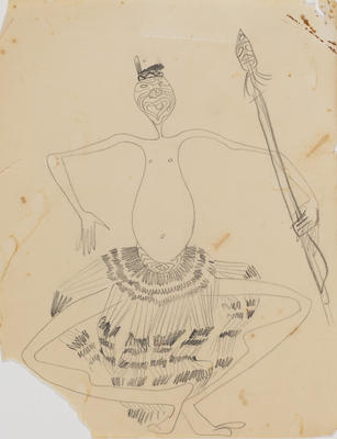 Joan Grehan; Untitled (Stylised Māori figure study); 2014/1/25