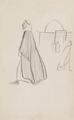 Untitled (Walking figures and building)