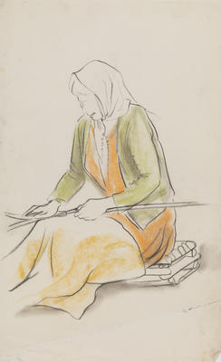 Untitled (Female figure weaving study)