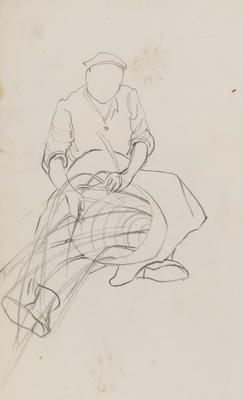 Untitled (Seated figure weaving study)