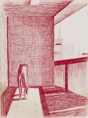 Untitled (red with dog)